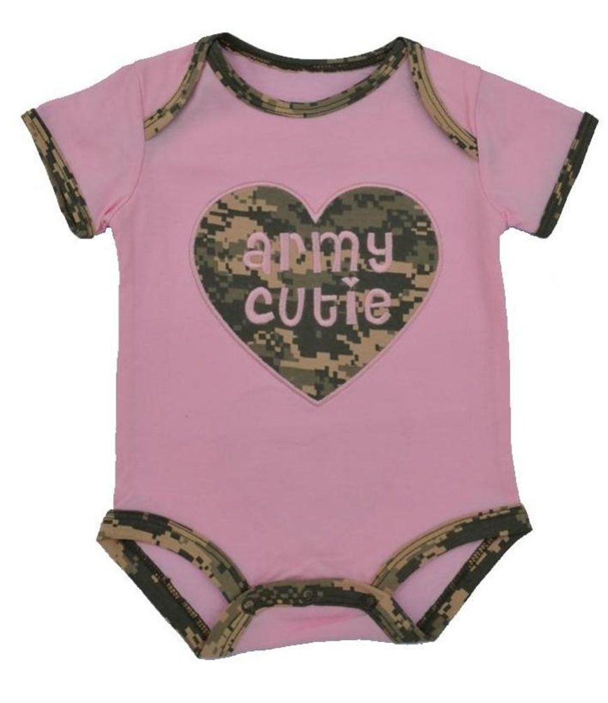 4449ae195 Trooper Clothing Baby-Girls' Army Cutie Embroidered Outfit 3-6 Mo Pink.