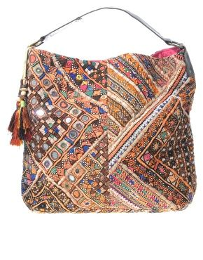 ASOS Premium Patchwork Mirrored Ethnic Bag With Leather Handle