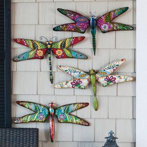 Metal Boho Dragonfly Outdoor Décor Set Of 4
