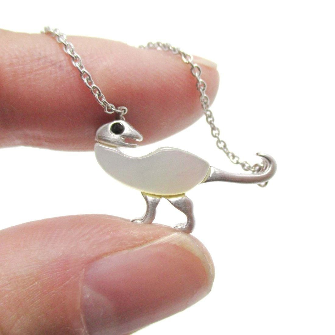 Ornithomimus Dinosaur Shaped Pendant Necklace in Silver with Pearl Detail | DOTOLY