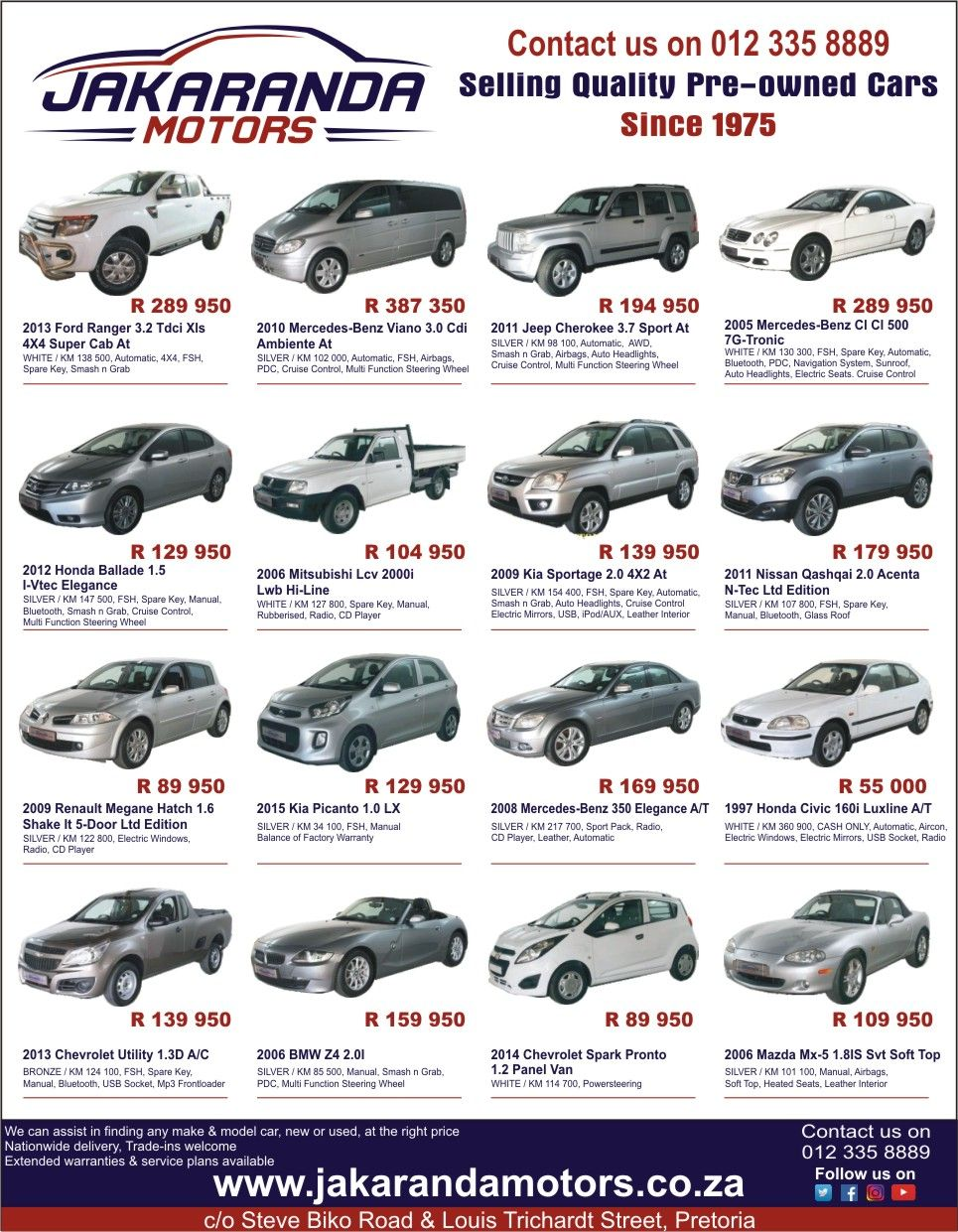 Pre Owned Cars >> Jakaranda Motors Selling Quality Pre Owned Cars Since 1975