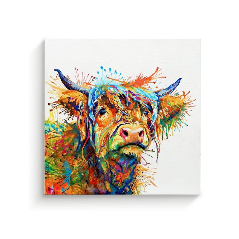 Highland Cow Canvas With Vibrant Colours Highland Cow Art Cow Canvas Cow Art