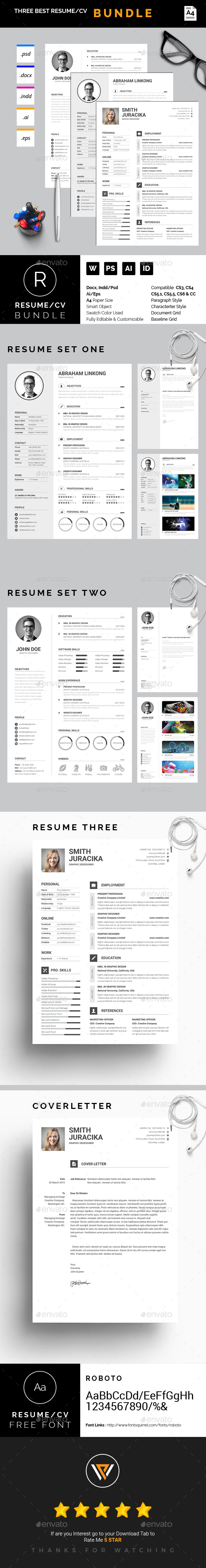 Best Resume / CV Template Bundle PSD, Vector EPS, InDesign INDD, AI ...