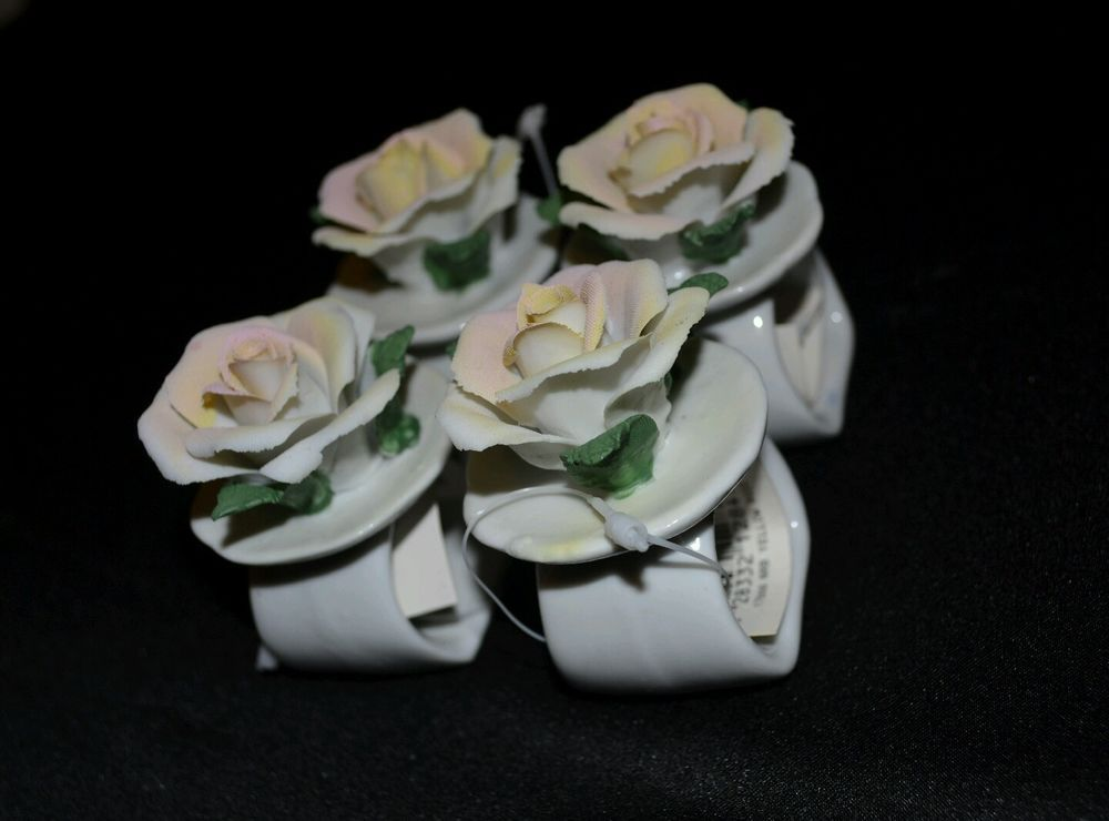 Vintage Town & Country Linen Shabby Chic Rose Ceramic Napkin Ring Decor Lot of 4 #TownandCountyLinen