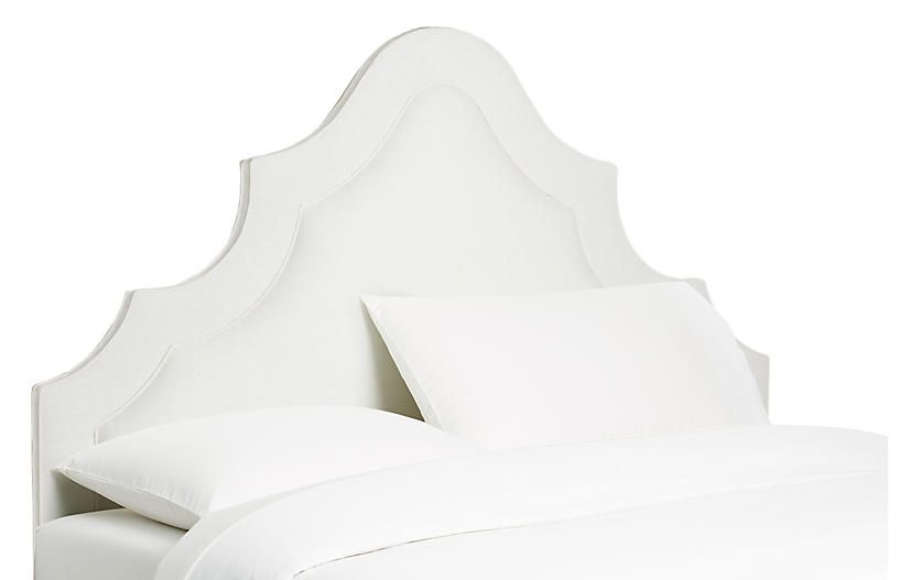 Dorset Arched Headboard - White Linen - Queen