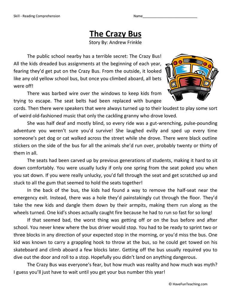 Crazy Bus Fifth Grade Reading Prehension Worksheet