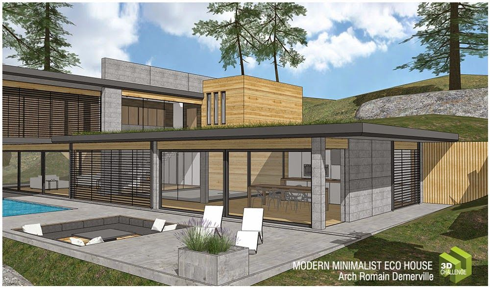 1 Minimalist Modern Eco House Right Side View Eco House Eco House Plans Passive House Design