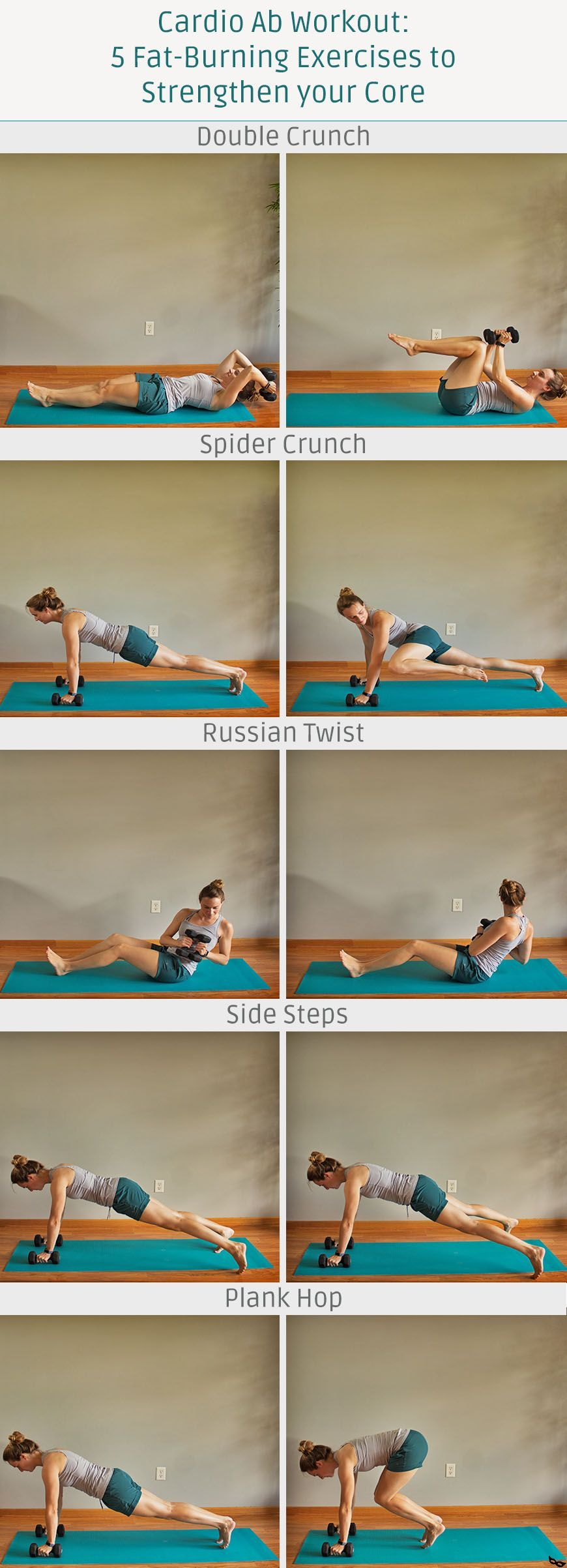 All you need is a set of dumbbells for this cardio ab workout! Ab workouts at home are a great way t...