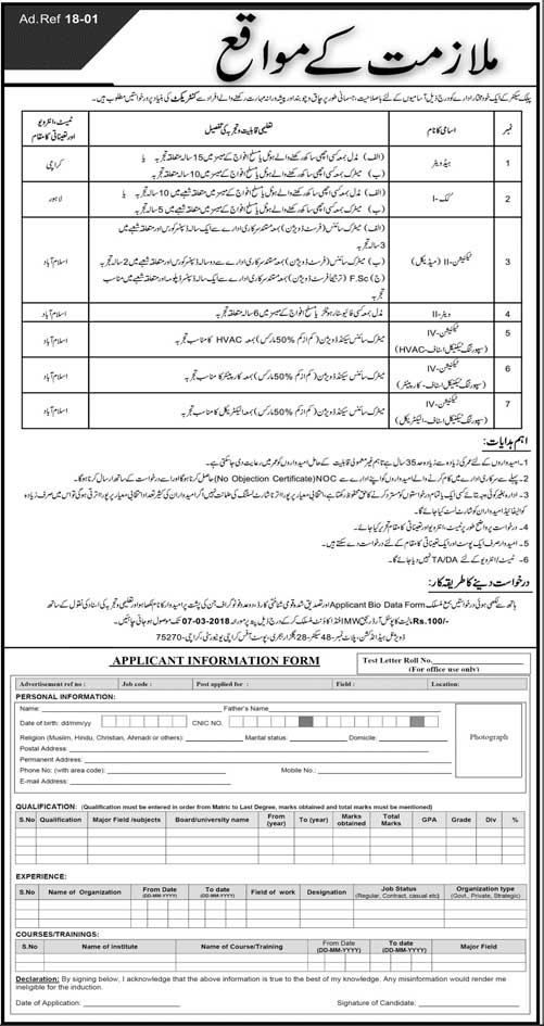 Public Sector Organization Jobs 2018 In Karachi For Technician And