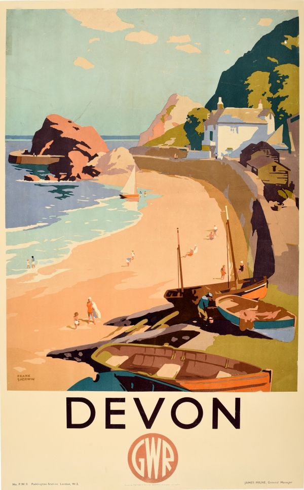 1930s Cornwall England 16x24 Vintage Style UK Travel Poster