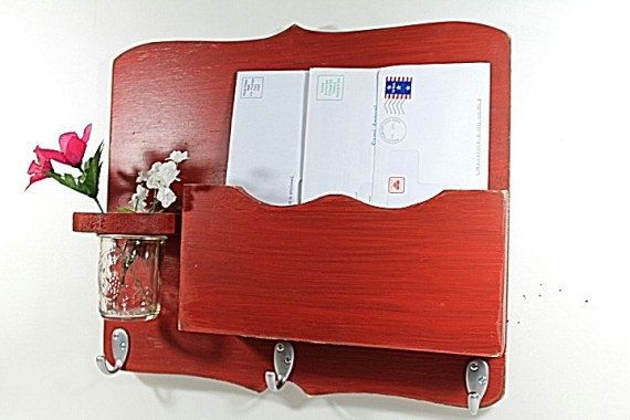 Large Mail Organizer shabby chic floral vase mail by OldWoodTrader