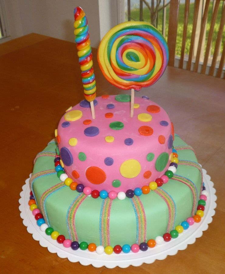 Easy To Make Cake. Two Tiers Of Fondant With Bubble Gum