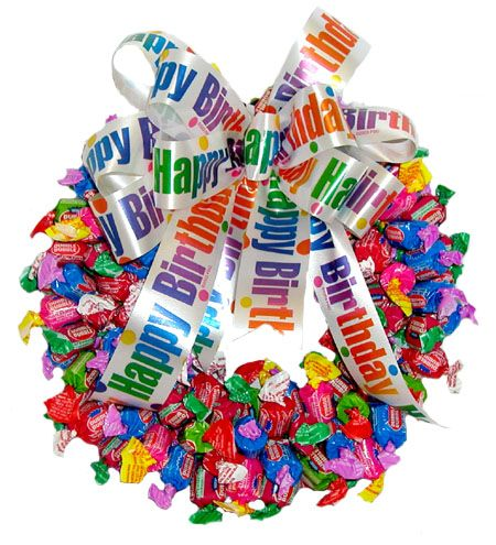 Happy birthday double bubble wreath Candy Cakes and Bouquets