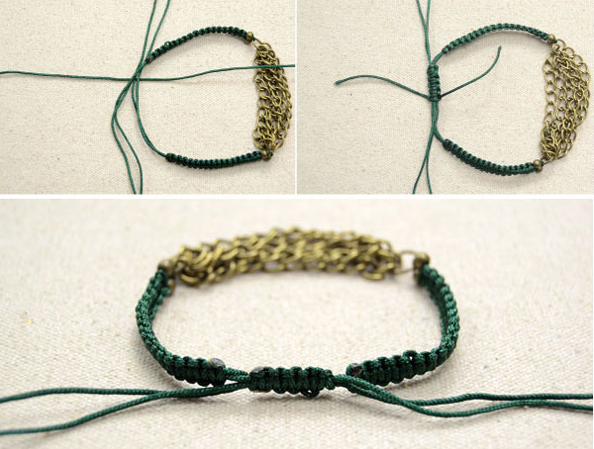 b19246743b9b Como cerrar pulseras macramé Entrelazar los extremos y con un trozo de  cuerda adicional hacer varios