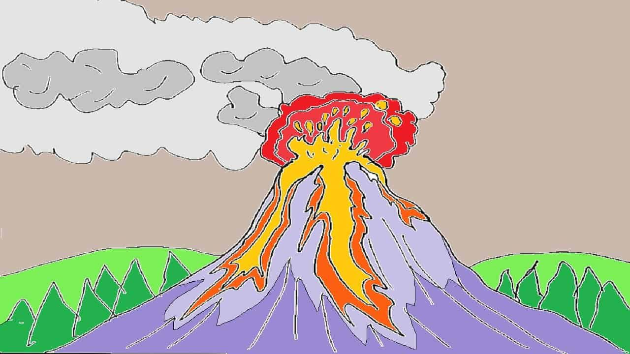 How To Draw A Volcano Step By Step Easy Drawings Easy Drawings For Beginners Drawing For Beginners