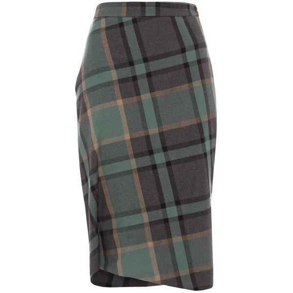 Green Tartan Accident Skirt (€510) ❤ liked on Polyvore featuring skirts, tartan pencil skirt, twist skirt, black pencil skirt, black plaid skirt and tartan plaid pencil skirt