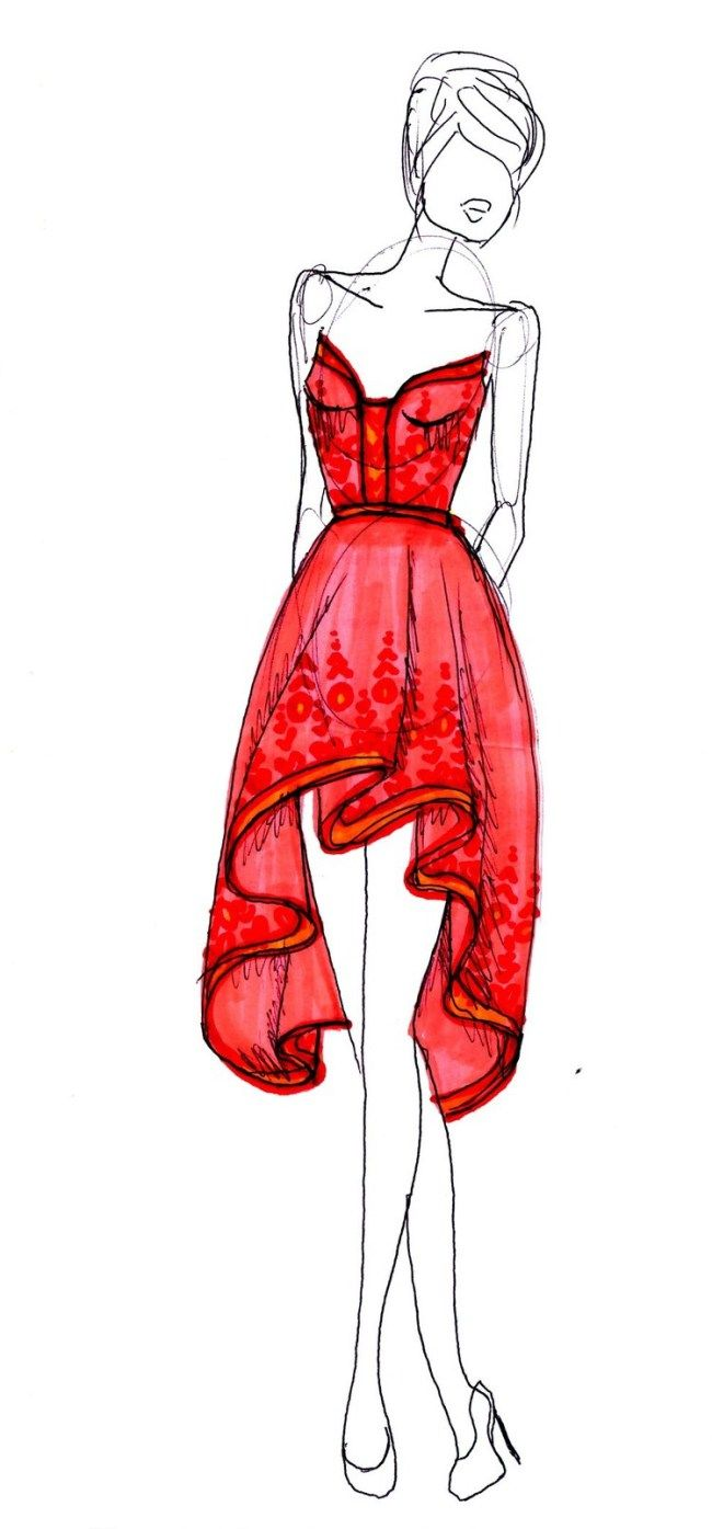 Fashion design sketches summer dresses
