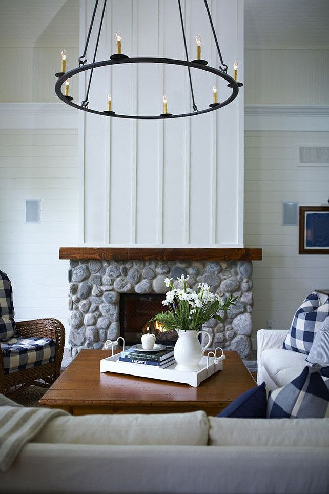 Gorgeous Nautical Living Room Featuring Board And Batten Fireplace White Shiplap Walls Wooden