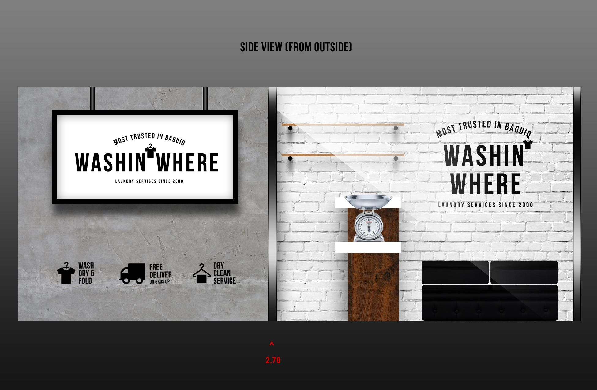 Washinwhere Laundry Shop New Store Visualization Side Wall