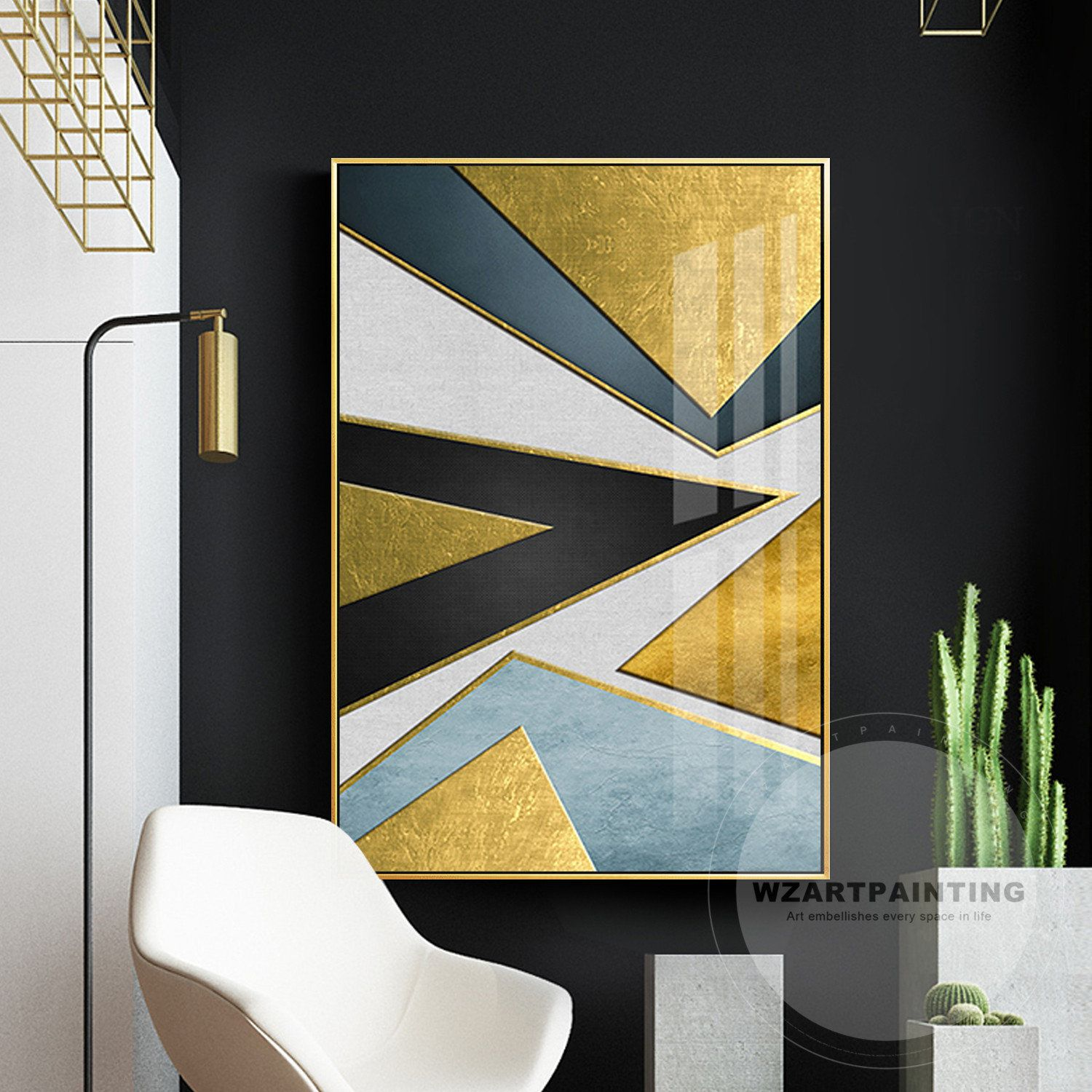 Modern Geometric Abstract Gold Blue Black Triangle Print Painting Prints On Canvas Luxury Wall Art Pic Picture Frame Decor Wall Art Pictures Diy Wall Art Decor