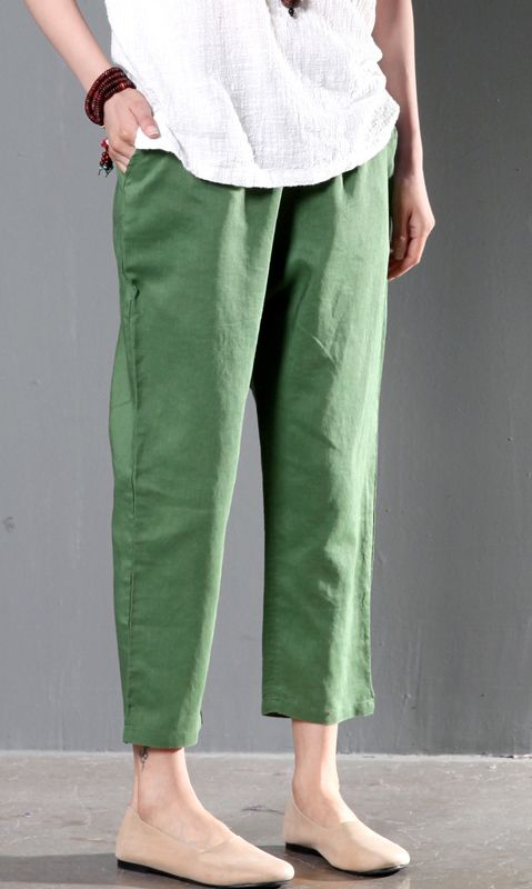 20c3b39ed55a Green linen summer pants plus size women crop pants trousers ...