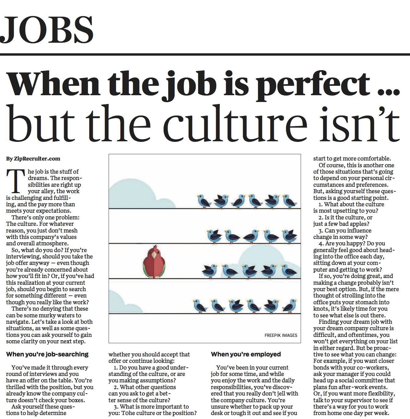 This Week Our Jobs Page Features This Article From @ziprecruiter On What To  Do About Job Culture Whether You're Job Searching Or Currently Employed.