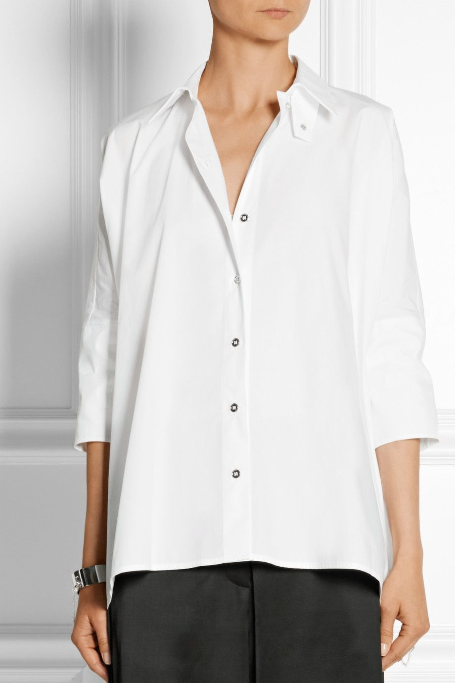 MM6 Maison Margiela|Oversized cotton-poplin shirt|NET-A-PORTER.COM