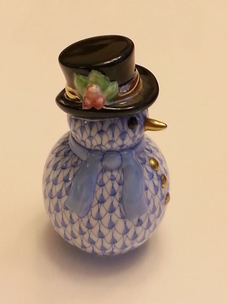 Herend Snowman Blue Fishnet with Top Hat #Herend Bought for $45 at a local antique shop. Sold $147 Ebay Total now $10,660