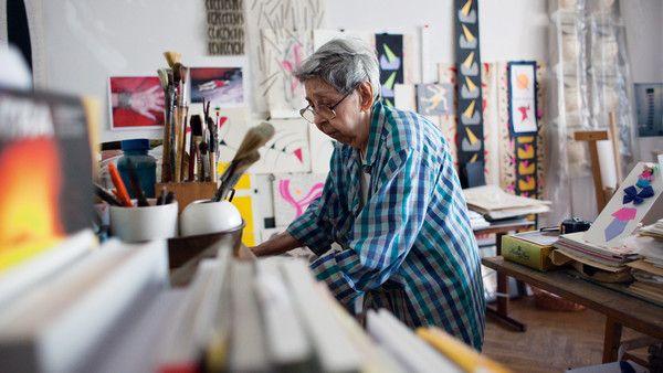 Geta Bratescu in her studio in Bucharest
