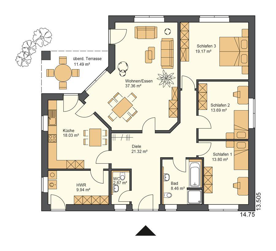 Bildergebnis Für Grundriss Bungalow 4 Zimmer 150 Qm