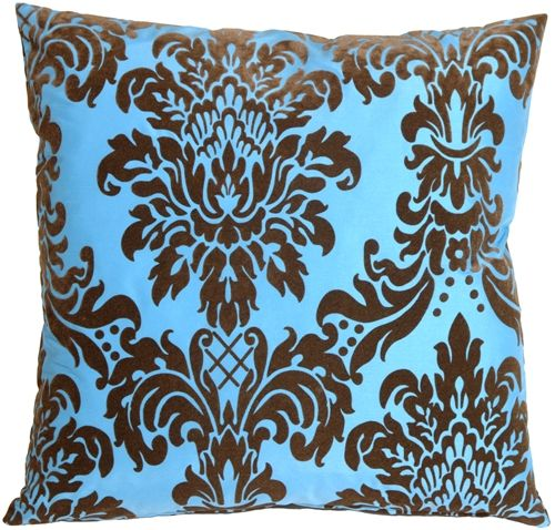 Flocked Velvet Damask Brown And Turquoise Throw Pillow In 40 Impressive Brown And Turquoise Decorative Pillows