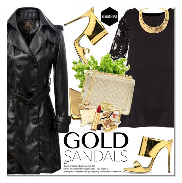 """""""Gold Sandals"""" by oshint ❤ liked on Polyvore featuring Giuseppe Zanotti, Hermès, Isaac Mizrahi, Elizabeth Arden, Kenneth Jay Lane and Genuine_People"""
