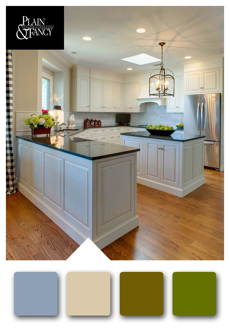 White kitchen with soft, cooler earthtones color palette ...