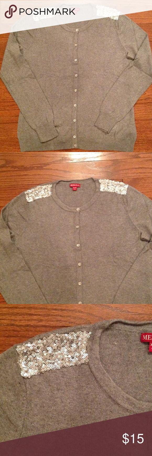 Gray Cardigan with silver sequin shoulder | Grey cardigan, Silver ...