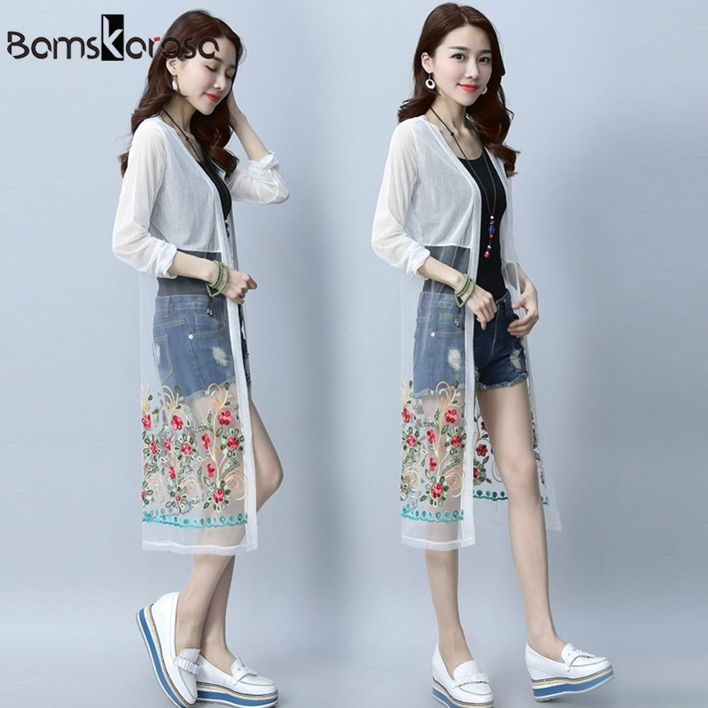 Bamskarosa summer bohemian cardigan women blouses vintage mesh