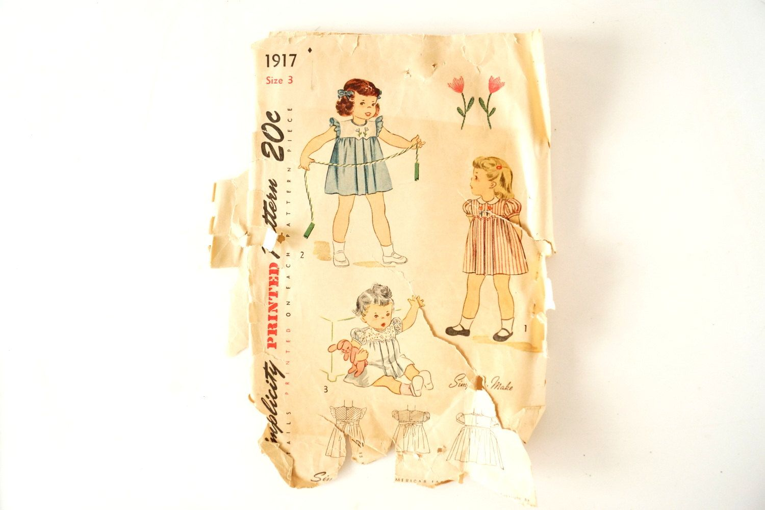 Vintage 1940s Simplicity Pattern 1917 Child's by ThirdShift