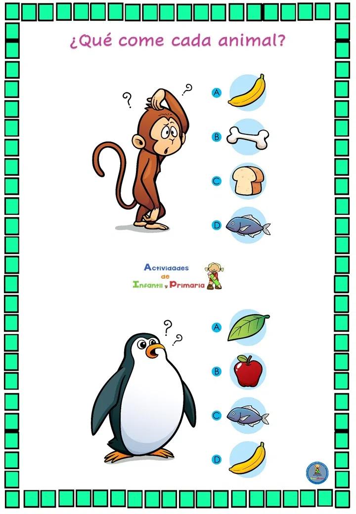 Divertido Juego De Lógica Qué Come Cada Animal Juegos De Logica Evaluaciones Para Preescolar Juegos De Lenguaje