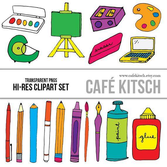 Art Supplies Clip Art School Teacher Kids Homework Art Etsy Clip Art School Clipart Online Scrapbook