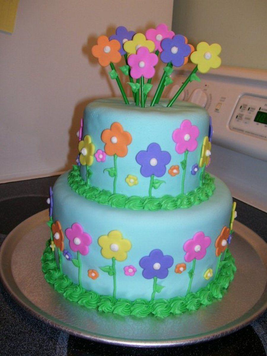 Flower birthday cake birthday cake for my grandma flowers are flower birthday cake birthday cake for my grandma flowers are fondant izmirmasajfo