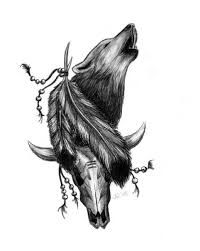 Image result for native feather and wolf tattoo for women