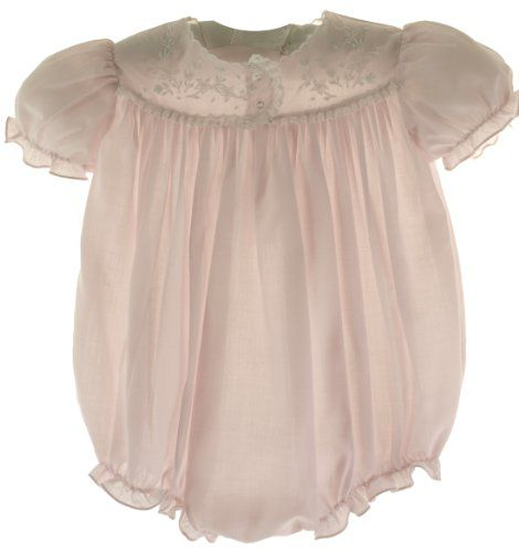 Feltman Brothers Infant Girls Pink Embroidered Bubble Outfit Layette