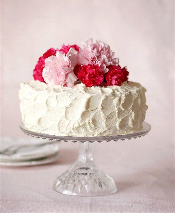 Simple Cake Imagine A Angel Food And Whip Cream Frosting Topped With Fresh Flowers For Birthday