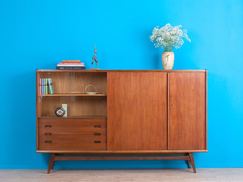 eiche highboard, sideboard, kommode, danish design von mid century ... - Danish Design Wohnzimmer