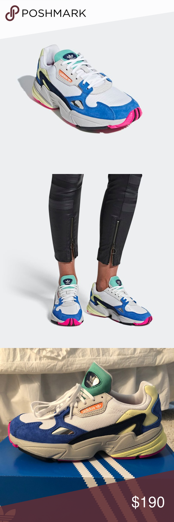 meet e0183 2a35d Adidas Falcon Sneaker Size W7 Currently SOLD OUT on every website! Cloud  whitecloud whiteblue colorway. Run large - suggest getting a size smaller  than ...