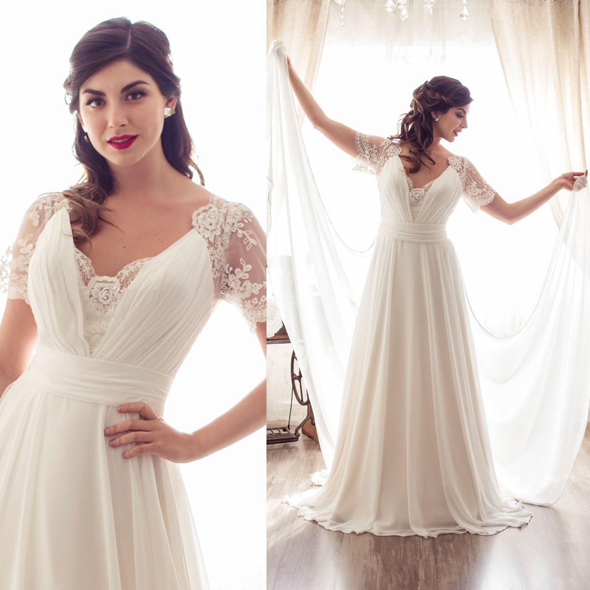 Vestido de novia con mangas cap sleeve wedding dress vestidos de