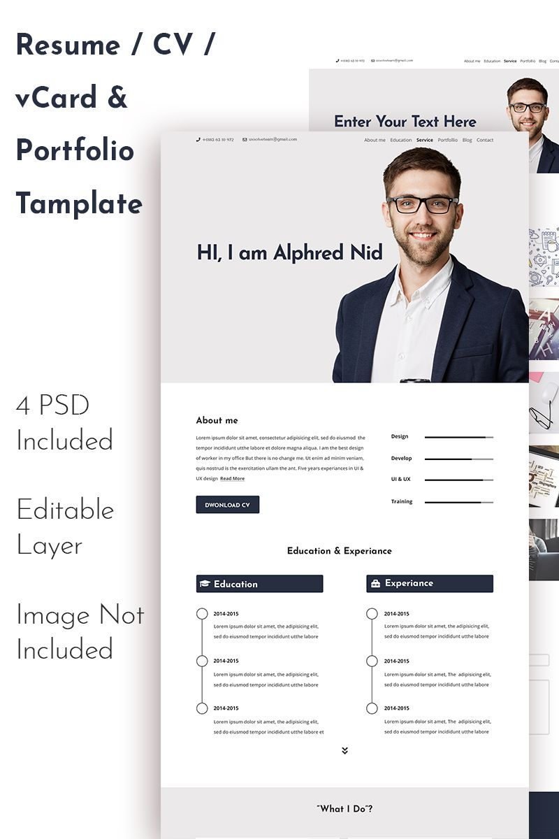 Alphred Nid Cv Resume Personal Portfolio Psd Template 71035