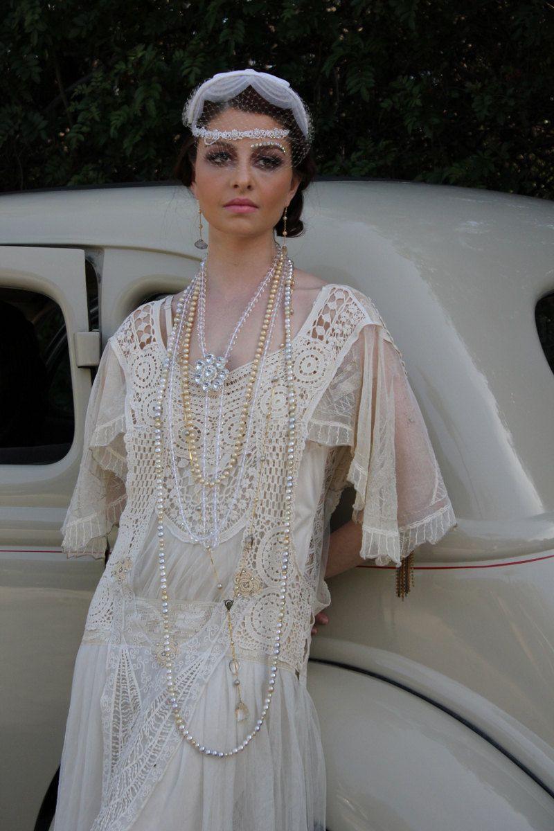 Beautiful flapper queen wedding dress great gatsby style