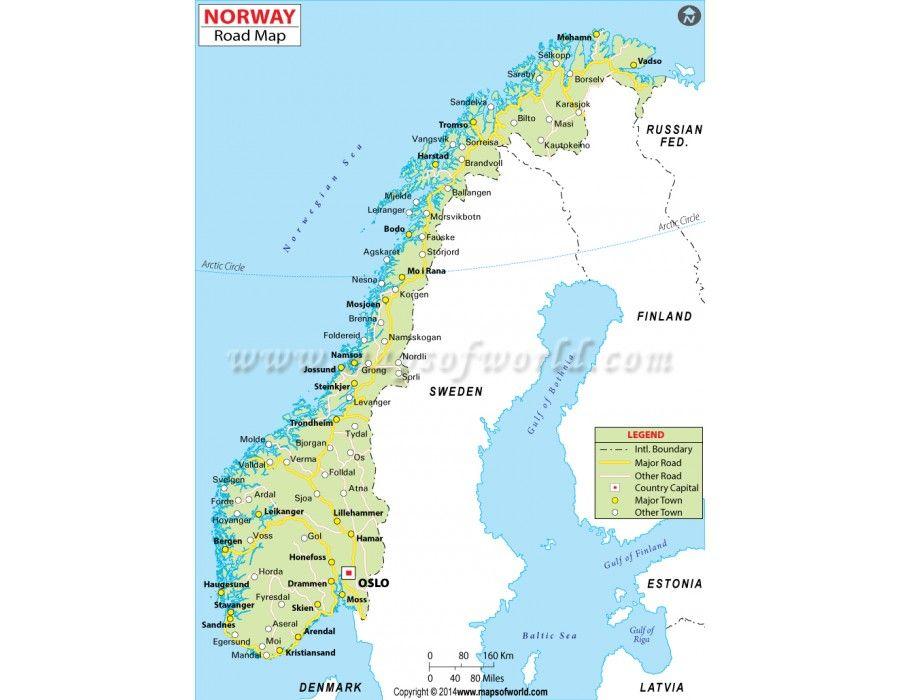 buy printed norway road map