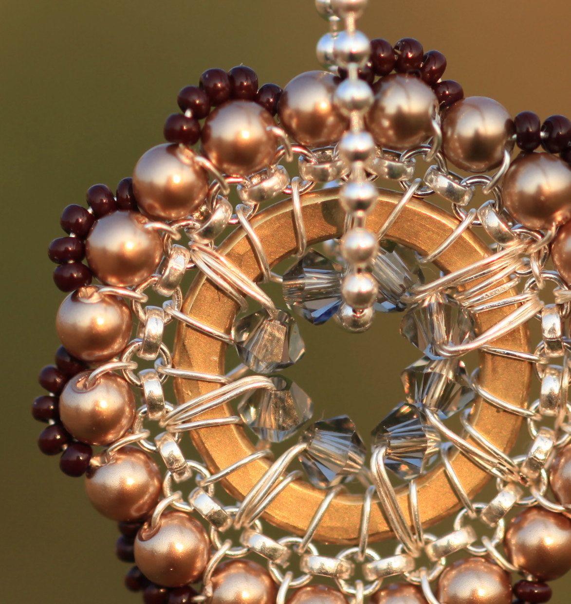 Pendant, Beadwork Necklace, Handmade, Christmas, holiday, Bridal Accessories, Cocktail, Weddings. $56.00, via Etsy.