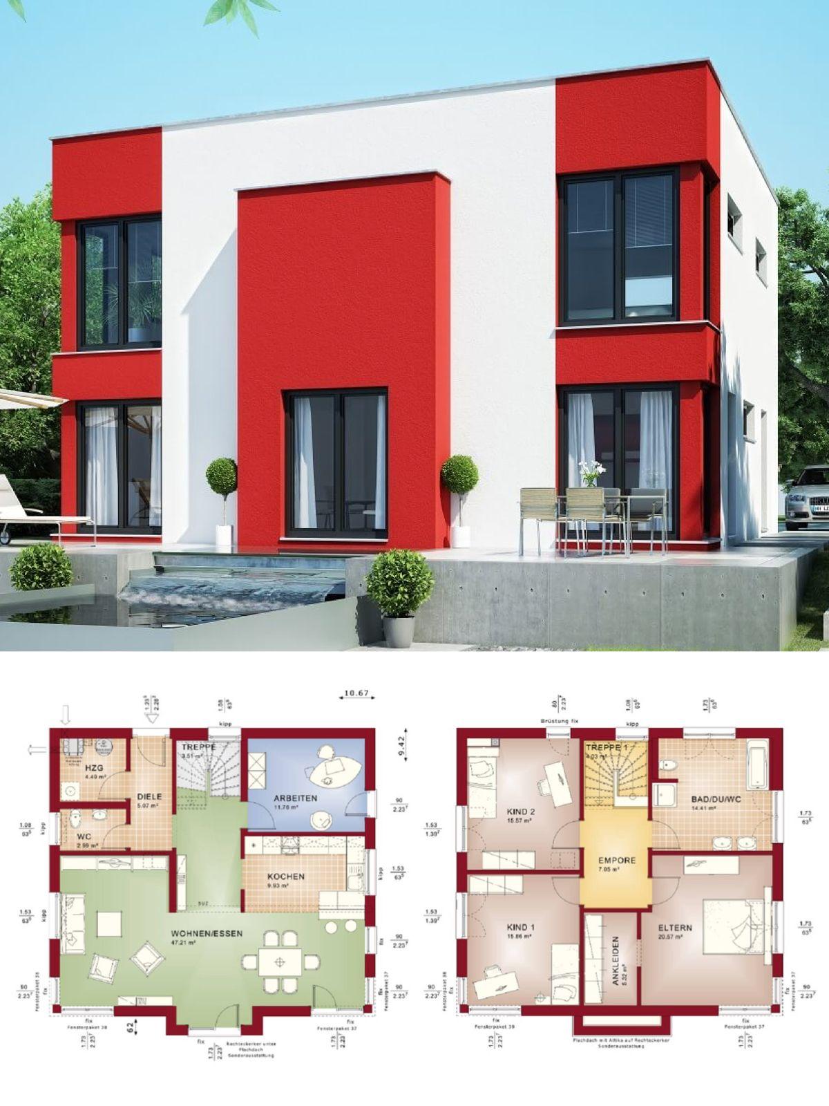stadtvilla modern mit flachdach architektur im bauhausstil, fassade